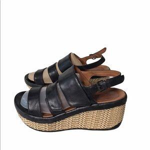 BUSSOLA Black Leather Wedge Sandals 39